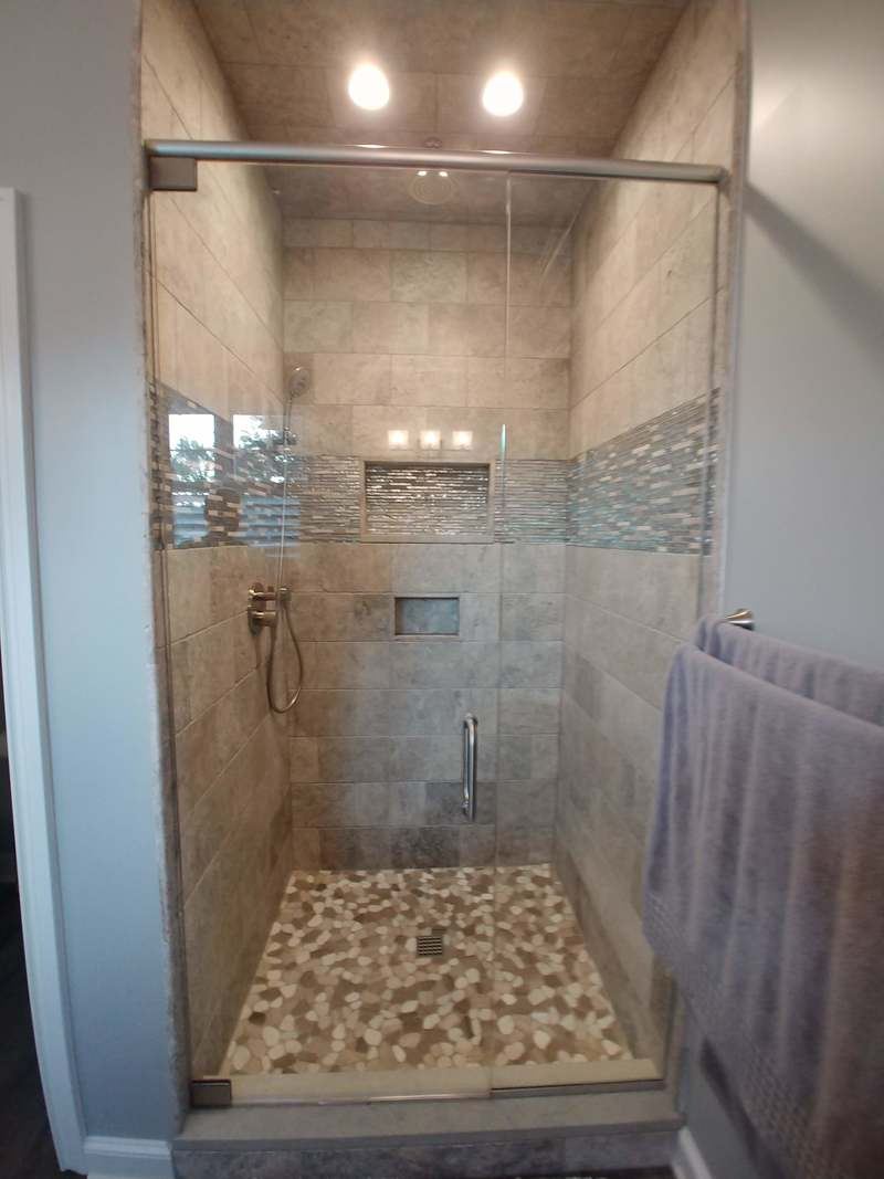 custom travertine walk in shower