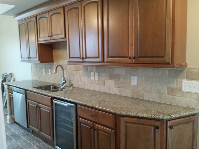Travertine subway tile back splash