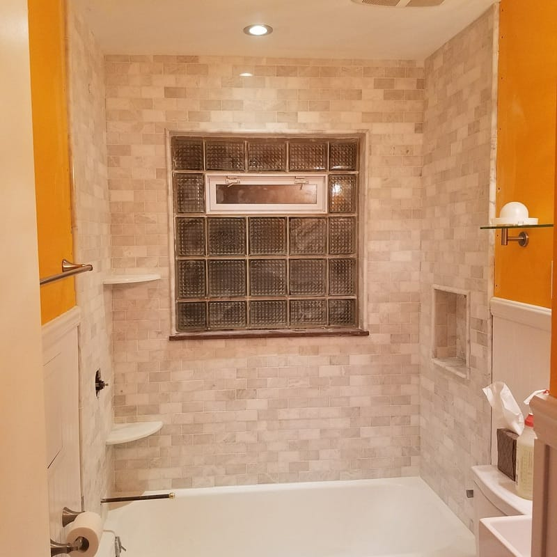 marble mosaic tile shower